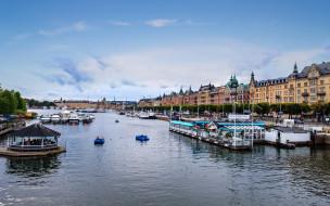 города, стокгольм , швеция, река, набережная, дома