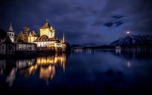 города, замок оберхофен , швейцария, oberhofen, castle