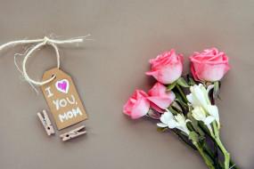 праздничные, день матери, розы, надпись, признание