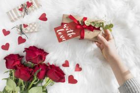 праздничные, день святого валентина,  сердечки,  любовь, розы, подарки, сердечки