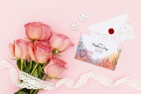 праздничные, день матери, розы, кружево, открытка
