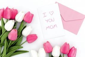 праздничные, день матери, тюльпаны, надпись, признание