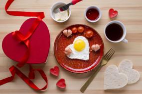 праздничные, день святого валентина,  сердечки,  любовь, лента, подарок, свечи, завтрак, сердечки