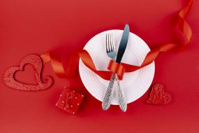 праздничные, день святого валентина,  сердечки,  любовь, лента, подарок, приборы, сердечки