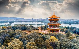 города, - буддийские и другие храмы, ханчжоу, пагода, лэйфэн, западное, озеро, китайская, башня, городской, вид, вечер, закат, горизонт, китай