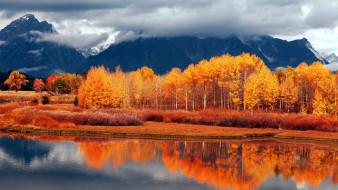 горы, река, осень