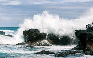 природа, побережье, скалы, волны