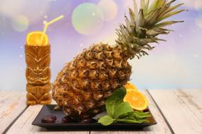 еда, ананас, фруктов, жёлтый, спелый