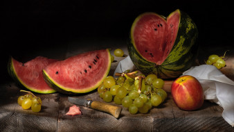еда, фрукты,  ягоды, виноград, персик, арбуз