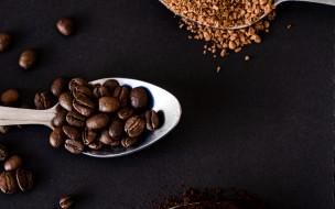 еда, кофе,  кофейные зёрна, зерна, кофейные, молотый
