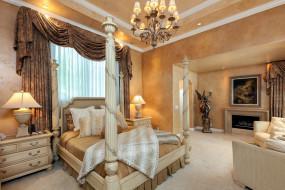 интерьер, спальня, кровать, люстра