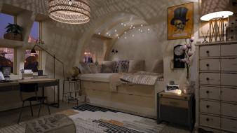 интерьер, спальня, кровать, часы, письменный, стол
