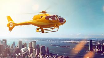 вертолет, желтый, небо, город