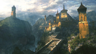 фэнтези, замки, город, фон, горы