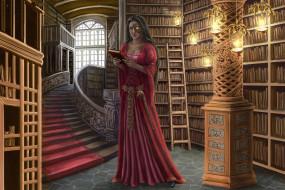 фэнтези, девушки, девушка, фон, платье, библиотека
