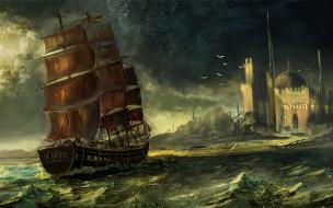 корабли, рисованные, корабль, парусник, чайки, море, берег, город