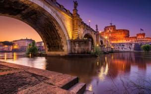 города, рим,  ватикан , италия, aelian, bridge, tiber, river, вечерняя, pons, aelius, европа, ponte, sant, angelo, итальянские