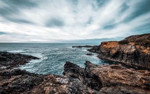 природа, побережье, скалы, море