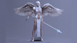 3д графика, ангел , angel, посох, крылья, красивая, девушка, ангел