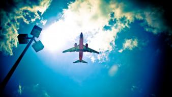 авиация, пассажирские самолёты, небо, самолет, вид, снизу, пассажирский