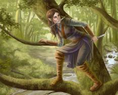 фэнтези, эльфы, девушка, фон, дерево, кинжал