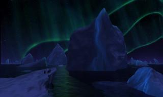 северное сияние, айсберги, льдины, море, пингвины