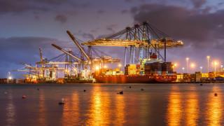корабли, грузовые суда, контейнерный, порт, на, мальте