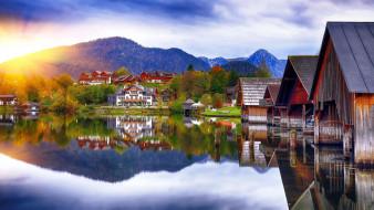 grundlsee lake,  alps, города, - пейзажи, горы, озеро, отражение