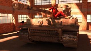 девушка, фон, танк
