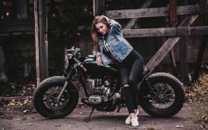 урал, мотоциклы, мото с девушкой, мотоцикл, боббер, девушка, модель