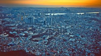 города, сеул , южная корея, столица, сеул, крупнейший, город, панорама, южная, корея