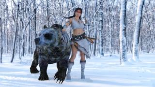 девушка, фон, лес, снег, медведь