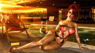 девушка, фон, взгляд, бассейн