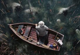 фэнтези, нежить, человек, лодка, озеро, умертвия
