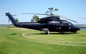 лужайка, вертолет сикорского, s76, черный, коммерческий вертолет, sikorsky aero engineering corporation
