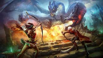 prime world, видео игры, девушка, мужчина, дракон, бой, оружие, фон