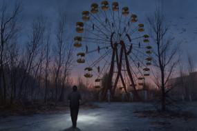 фэнтези, существа, парк, человек, колесо, обозрения, трупы
