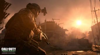 видео игры, call of duty 4,  modern warfare, солдат, оружие, город, стройка