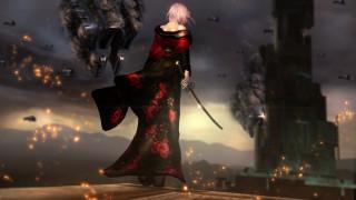 девушка, фон, катана, кимоно