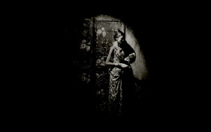 девушки, - черно-белые, ширма, платье, открытка