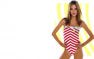 обои для рабочего стола 2920x1825 девушки, alessandra ambrosio, модель, купальник, полоски