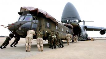 авиация, военно-транспортные самолёты, самолет, вертолет, люди, транспортировка