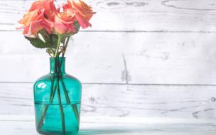 цветы, розы, ваза, букет