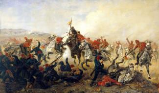 рисованное, виктор мазуровский, война, атака, бой, лошади, турки