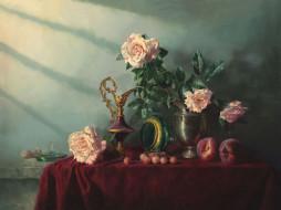 рисованное, алексей антонов, стол, посуда, розы, персики, черешни