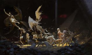 фэнтези, ангелы, девушки, фон, крылья, драка