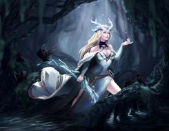 видео игры, league of legends, девушка, рога, посох, лес, вороны
