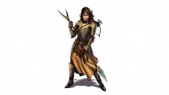 видео игры, pathfinder roleplaying game, девушка, фон, взгляд, униформа, копье