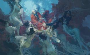 фэнтези, люди, мужчина, фон, девушки, кимоно