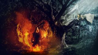 фэнтези, фотоарт, девушки, фон, дерево, огонь